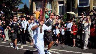 London 2012 Olympic Torch in chippenham Wiltshire, Park lane
