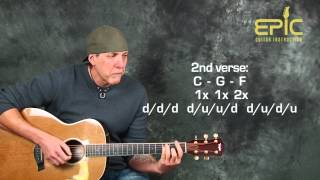 Learn Train Drops Of Jupiter acoustic guitar lesson with chords strumming patterns rhythms