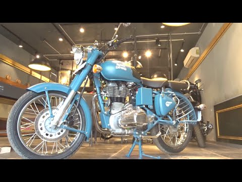 Bikes At Dinos Royal Enfield Classic 500 Squadron Blue Tan Walkaround