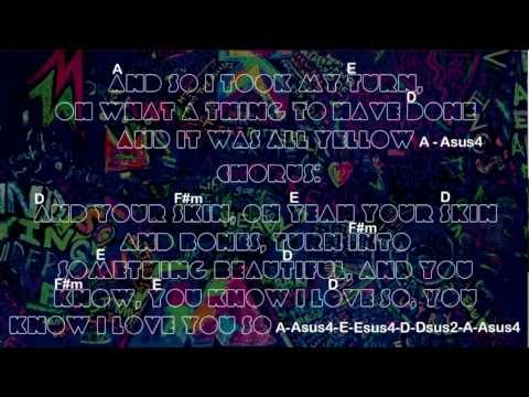 Coldplay - Yellow (How to play with guitar chords - backing track and lyrics)HD