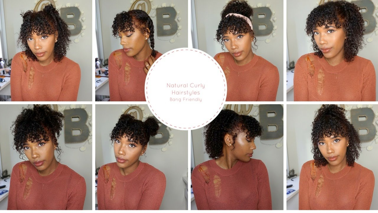 cute natural curly hairstyles bang
