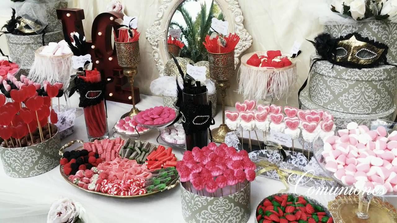 Candy bar mesas dulces tartas y globos youtube for Ideas para mesas de chuches
