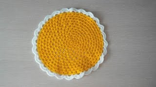 Вязание крючком, красивая и простая подставка под горячее.