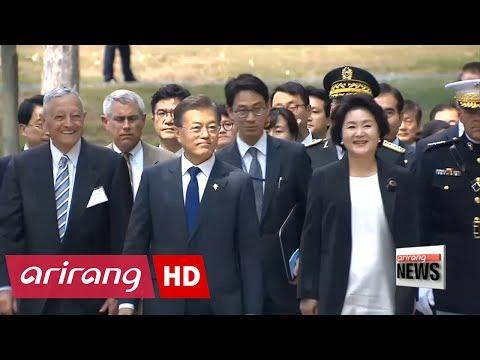 South Korean President Moon kicks off U.S. visit by emphasizing blood alliance
