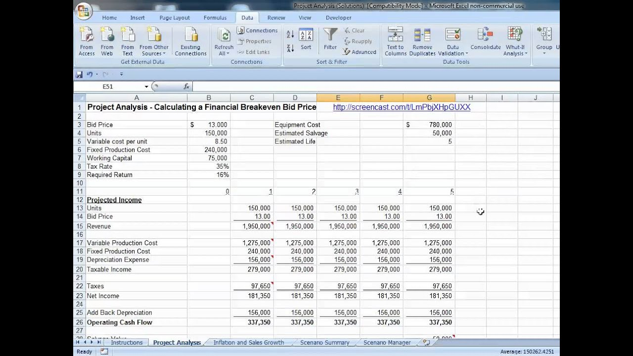 Excel Financial Breakeven Building Data Tables - YouTube