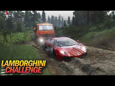 Tantangan Lamborghini Masuk Lumpur + Geret Fuso - Spintires