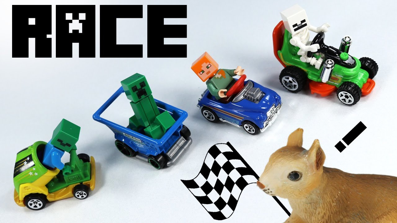 hot wheels hw ride ons cars 2017 lego minecraft minifigure race toy review youtube. Black Bedroom Furniture Sets. Home Design Ideas