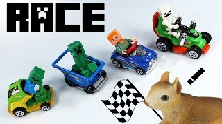 Hot Wheels HW Ride-Ons Cars 2017 Lego Minecraft Minifigure Race Toy Review
