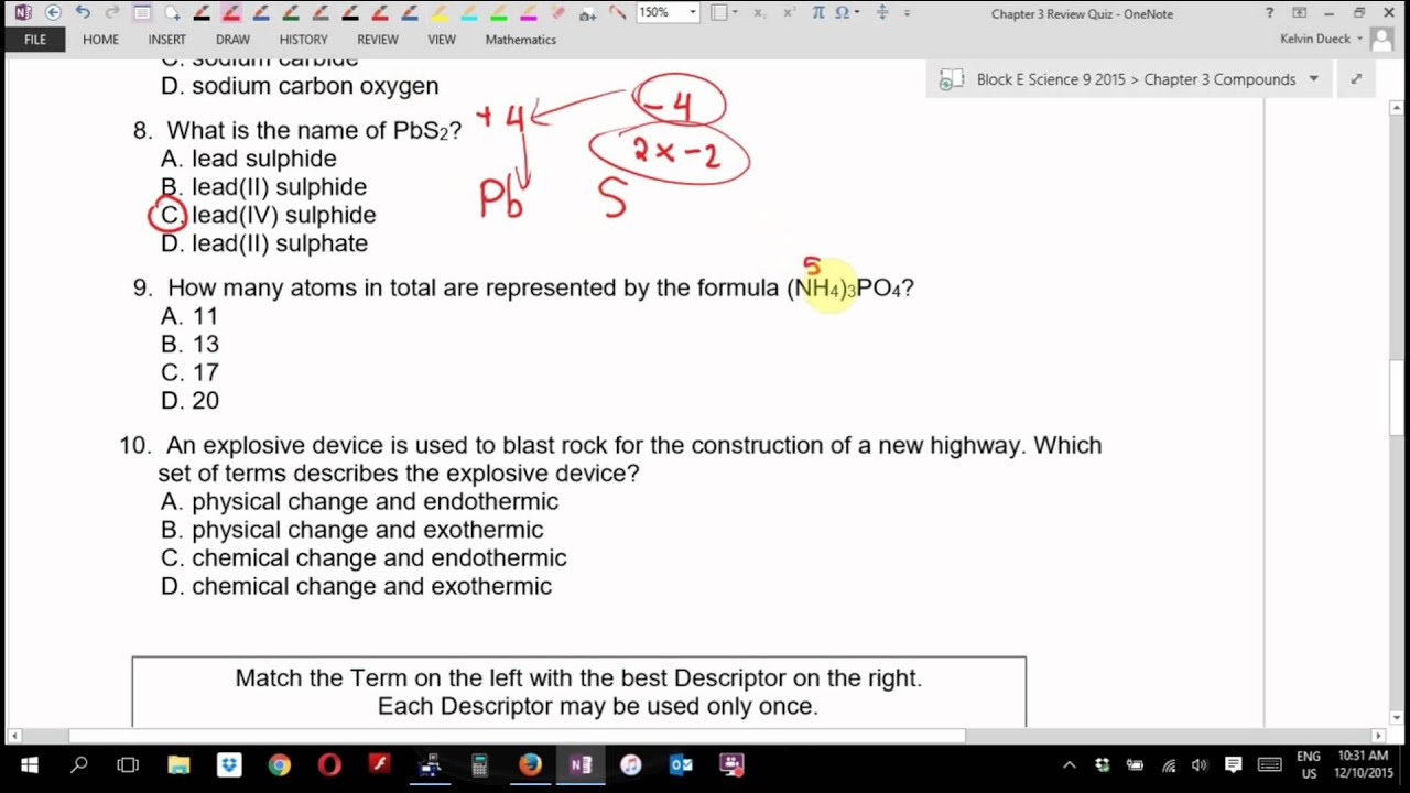 Science 9 Answers to Chapter 3 Review Quiz