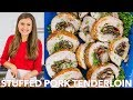 Easy Mushroom Bacon Stuffed Pork Tenderloin - Natasha's Kitchen