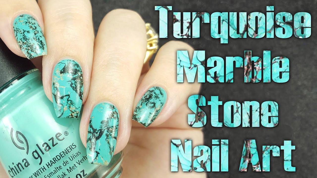 Turquoise Marble Stone Nail Tutorial Youtube