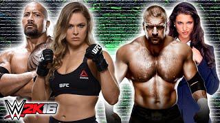 The Rock & Ronda Rousey VS Triple H & Stephanie McMahon | WWE RAW 2016 (WWE 2K16 Mods)