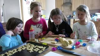 Singing, laughing, making biscuits