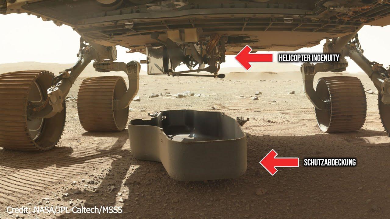 Mars 2020 Mission - Copter Ingenuity - Startvorbereitungen - Abdeckplatte entfernt