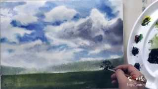 Umtart : 수채화 시골 언덕 그리기 4색 Watercolor Painting Rural Hill Four-color