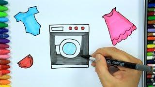 Cómo dibujar la lavadora - Cómo dibujar y colorear los para niños