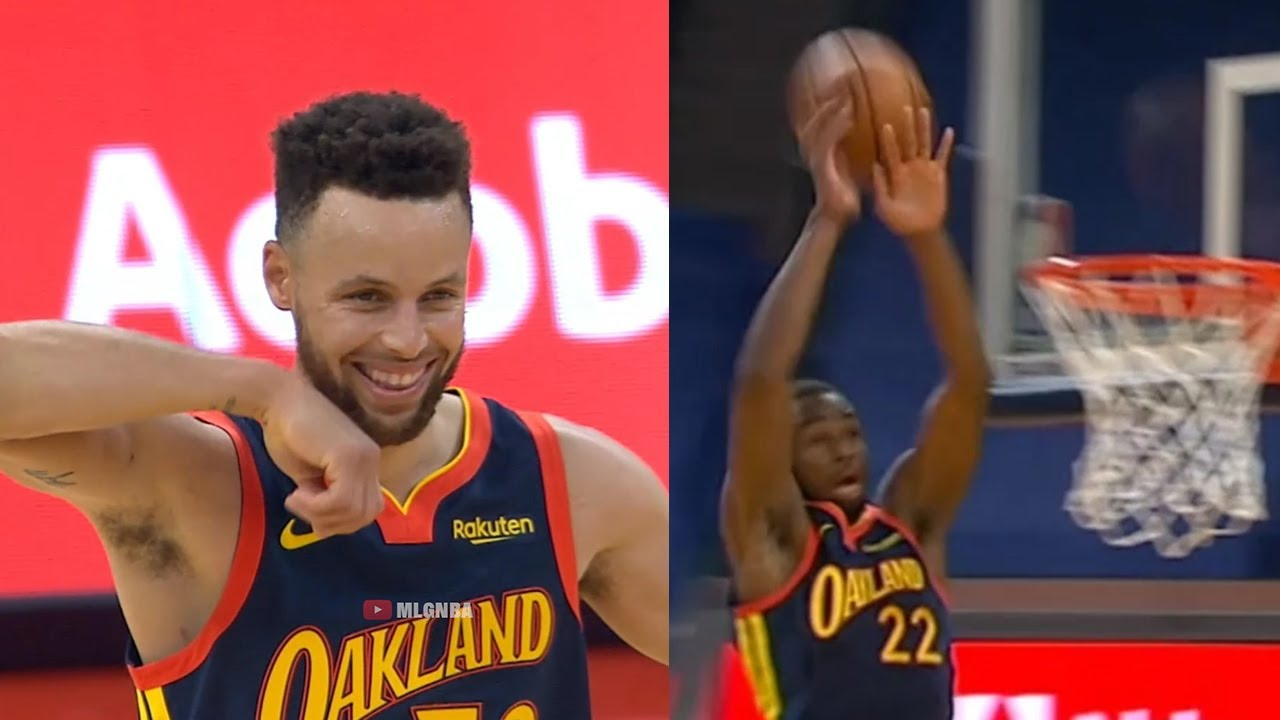 Stephen Curry's eye in the sky connection with Andrew Wiggins is so awkward