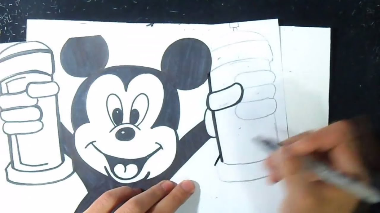 Comment dessiner mickey mouse graffiti youtube - Dessiner mickey ...