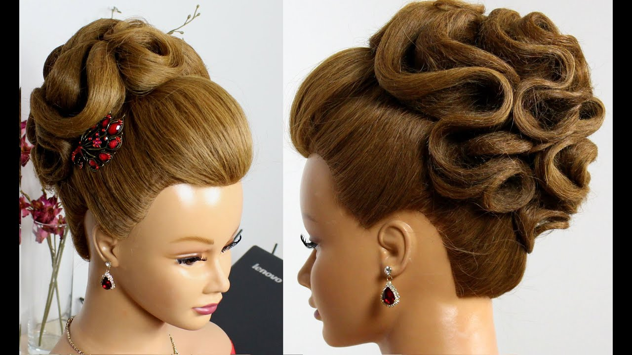 Bridal hairstyle for long hair tutorial Wedding prom updo