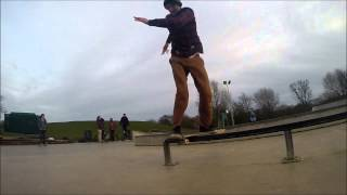 Jordan Everett: Hard flip back lipslide at Plymouth Central Park