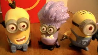 Despicable Me 2 MINIONS FULL SET OF 8 Happy Meal Toys (2013) Review! by Bin