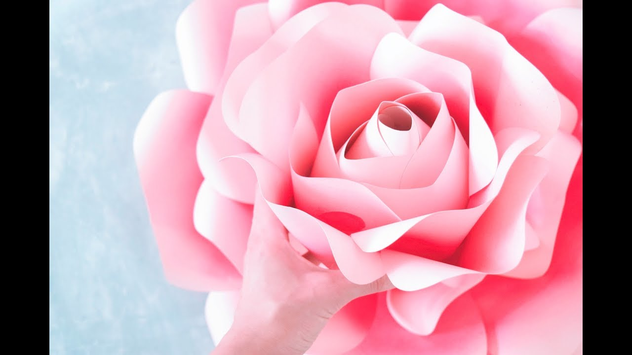 How to Make Giant Paper Roses- Rose Tutorial & Templates - YouTube