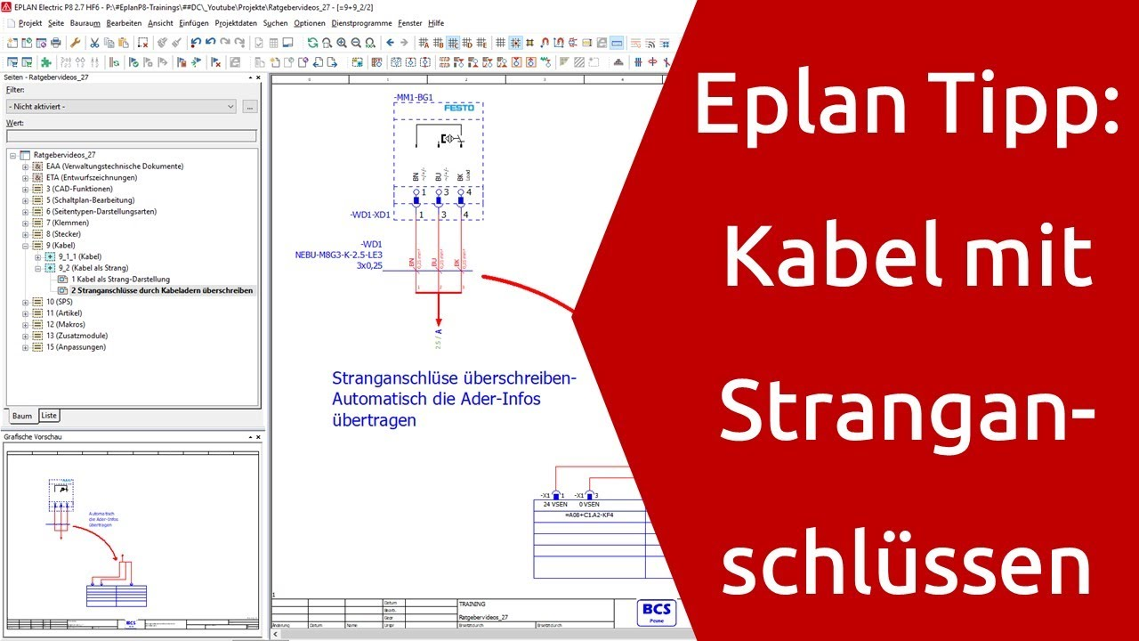 Eplan Tipp Kabel mit Stranganschlüsse Eplan P20 Tutorial eplan electric p20