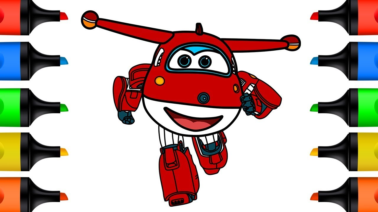 Super Wings Drawing And Coloring For Kids Learn Colors How To Draw