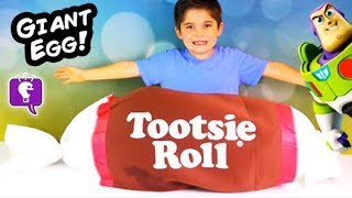 Worlds BIGGEST TOOTSIE ROLL! Toy Surprises, Giant Egg Robots Blind Boxes Fisher Price HobbyKidsTV