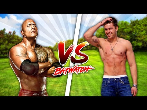 Thumbnail: Minecraft BAYWATCH!!!! - THE ROCK VS ZAC EFRON, WHO IS THE STRONGEST LIFEGUARD?? - Donut the Dog