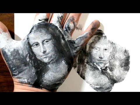 Hand Stamping the Mona Lisa - Oil Painting on Palm