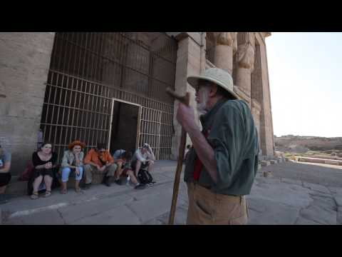 John Anthony West in the Temple of Hathor - 2016