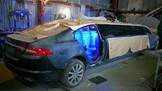 Самодельный лимузин,кузов по шпаклеван,стекла установлены,сборка салона.