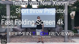 "Visual Apex Projector Screen 144"" 4K Portable  tested with NEW Xiaomi Wemax One Short Throw"