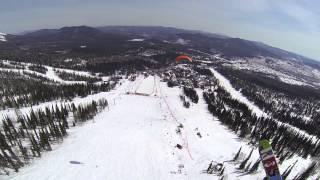 Полет вшестером на одном крыле 18 04 2015 Шерегеш