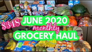 $348 JUNE 2020 MONTHLY GROCERY HAUL FOR OUR LARGE FAMILY || WALMART + ALDI HAULS