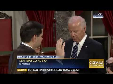 Senator Marco Rubio and family at ceremonial swearing-in with Vice President Joe Biden