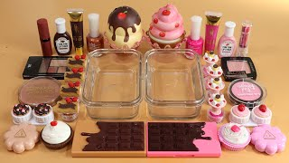 Mixing'Choco vs Pink Strawberry' Makeup Into Clear Slime. Most Satisfying Slime Video!★ASMR★