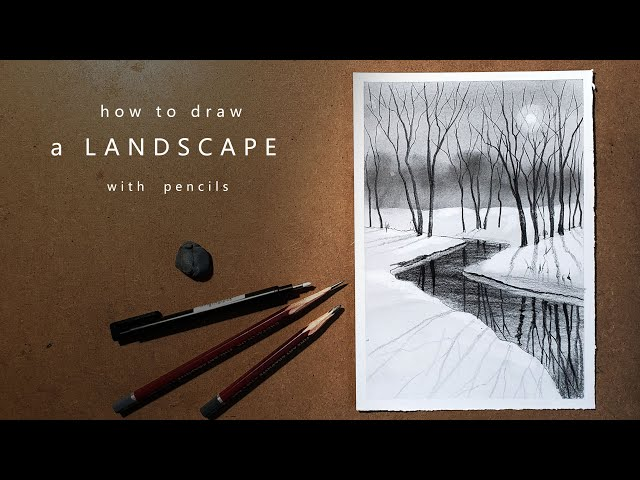 Как нарисовать зимний пейзаж | how to draw a winter landscape