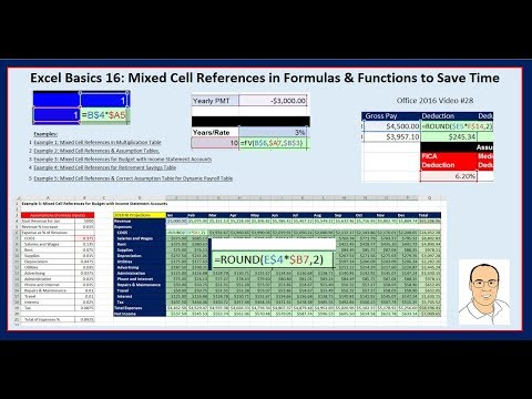 Excel Basics 16: Mixed Cell References #1 Trick to Creating Formulas Quickly!!!