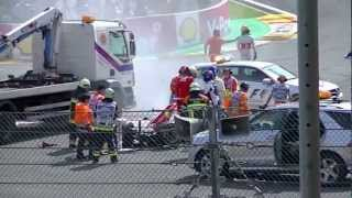 Formula 1 Crash at Belgium Grand Prix 2012(Formula one crash at la source corner involving Alonso and Hamilton., 2012-09-04T10:50:12.000Z)