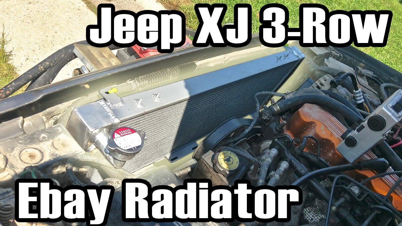 89 Cherokee Ebay 3 Row All Aluminum Radiator Install Youtube
