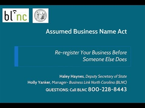 WEBINAR - Assumed Business Name Act: Re-register Your Business Name Before Someone Else Does