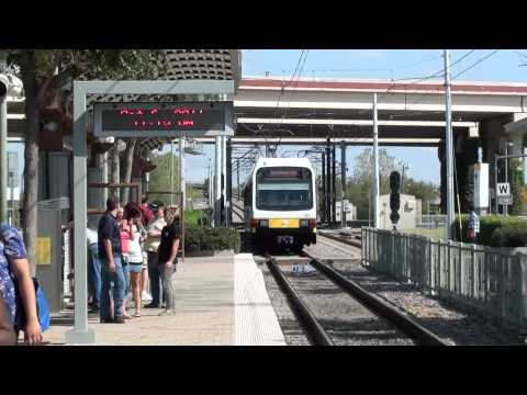 DART Train Arriving at Bush Turnpike Station in Dallas TX w Gluse