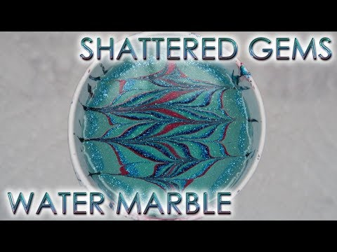 Shattered Gems Water Marble | 12 Days of Christmas Nail Art | DIY Tutorial