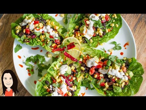 Lettuce Wrap Black Bean Tacos with Cashew Sour Cream – Gluten Free Vegan Recipe!