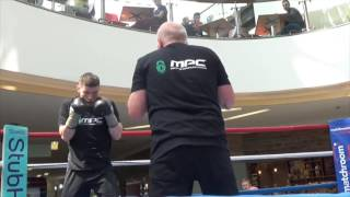 WILLIE LIMOND PAD WORK W/ TRAINER PETER HARRISON IN SCOTLAND @ PUBLIC WORKOUT/HISTORY IN THE MAKING