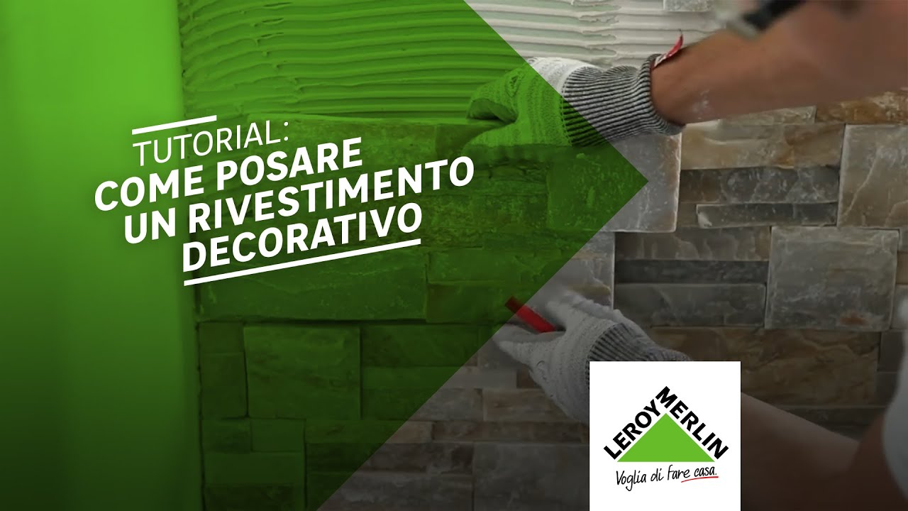 Come posare un rivestimento decorativo tutorial leroy for Pietre decorative bricoman