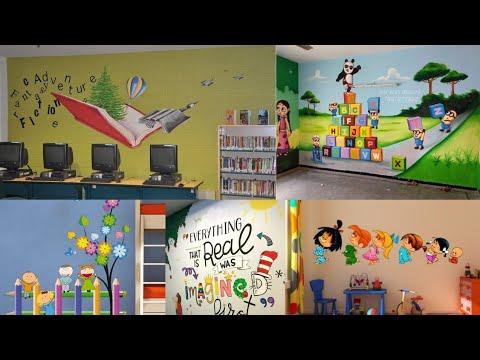School wall decoration ideas/Wall painting theme/Tree wall painting ideas