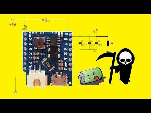ИБП Бесперебойник 5В для Ардуино и Wemos D1 Обзор Тест Доработка. Wemos Battery Shield V1.0 UPS 5V